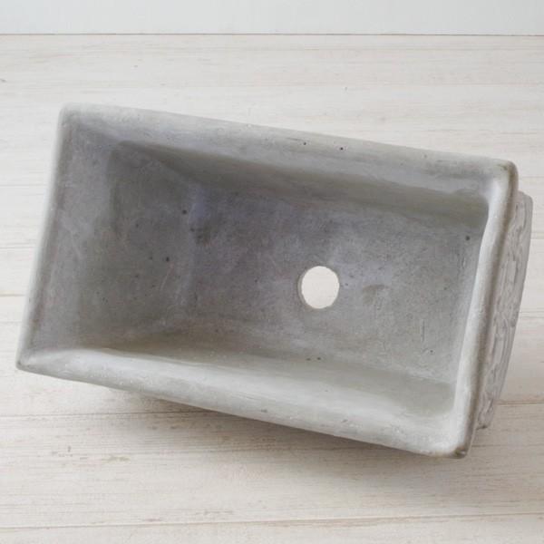 プランター おしゃれ 植木鉢 セメント鉢 ライトグレーセメントポットL レクト 約W23.5×D13.5×H11.5cm|hana-kazaru|04