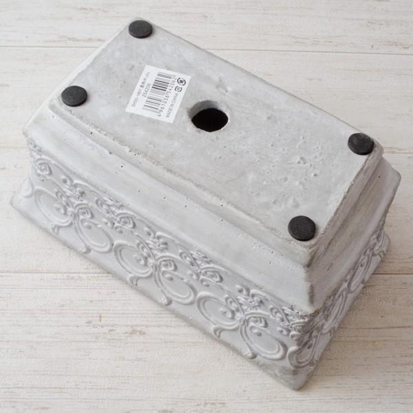 プランター おしゃれ 植木鉢 セメント鉢 ライトグレーセメントポットL レクト 約W23.5×D13.5×H11.5cm|hana-kazaru|07
