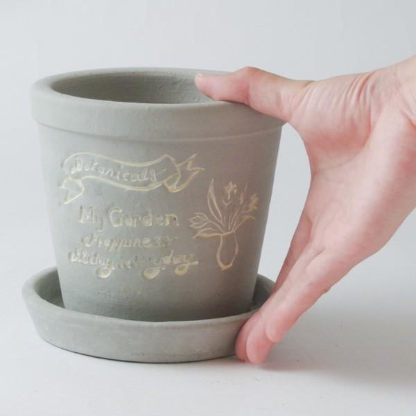 プランター おしゃれ 植木鉢 陶器 ファーネグレーポット 約4.5号|hana-kazaru|08