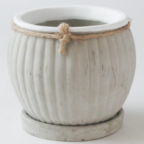 プランター おしゃれ 植木鉢 セメント製 フラワーメダルポット 約4号変形|hana-kazaru|04