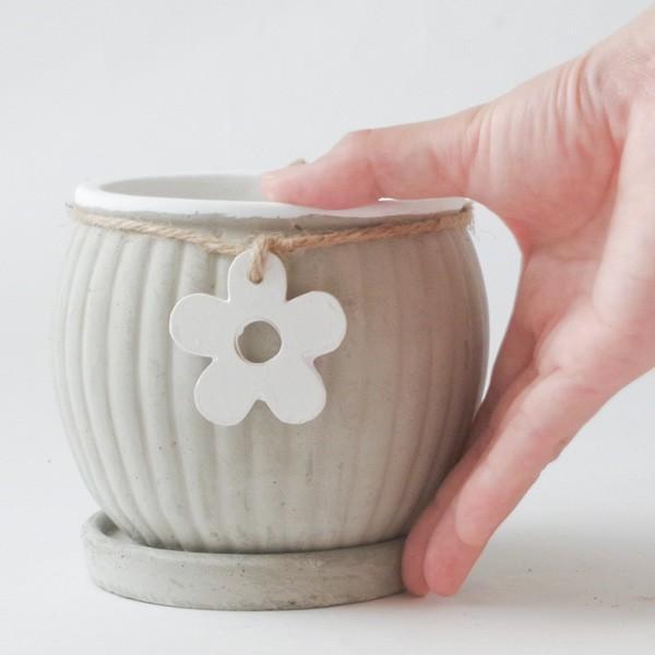 プランター おしゃれ 植木鉢 セメント製 フラワーメダルポット 約4号変形|hana-kazaru|08