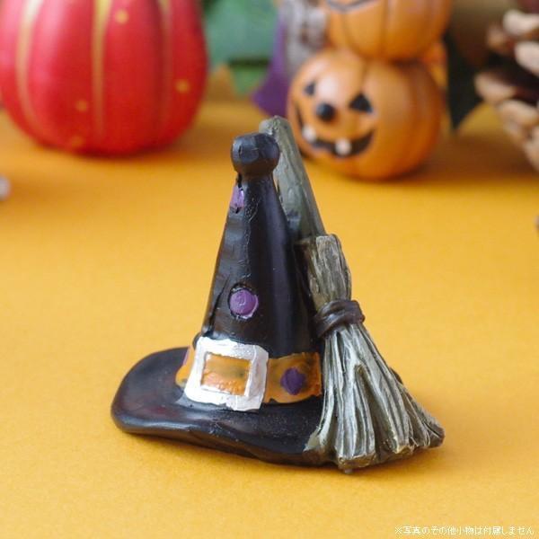 ハロウィン ガーデン雑貨 オブジェ 飾り 魔女の黒帽子&魔法のほうき|hana-kazaru