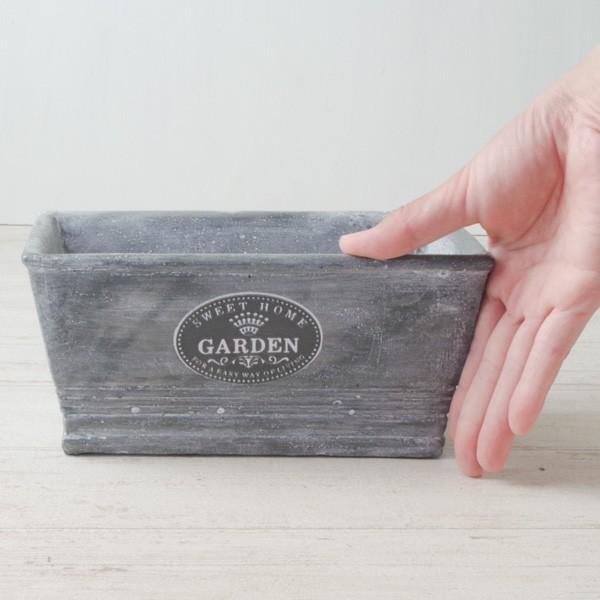 プランター おしゃれ 植木鉢 セメント鉢 スイートホームガーデンレクトポット 約W20.5×D11.5×H9.5cm|hana-kazaru|07