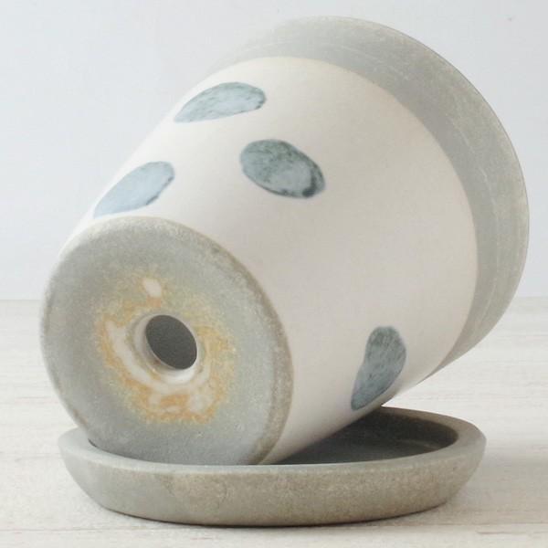 プランター おしゃれ 植木鉢 信楽焼 パロットポット水玉 白 約3号|hana-kazaru|05
