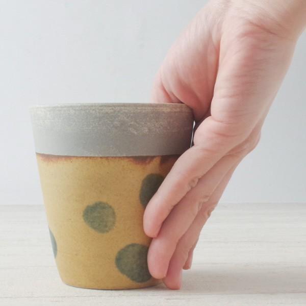 プランター おしゃれ 植木鉢 信楽焼 パロットポット水玉 黄 約3号|hana-kazaru|07