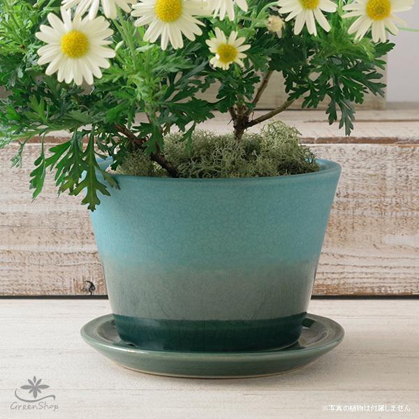 プランター おしゃれ 植木鉢 信楽焼 ルフトミドル ターコイズブルー 約5号|hana-kazaru