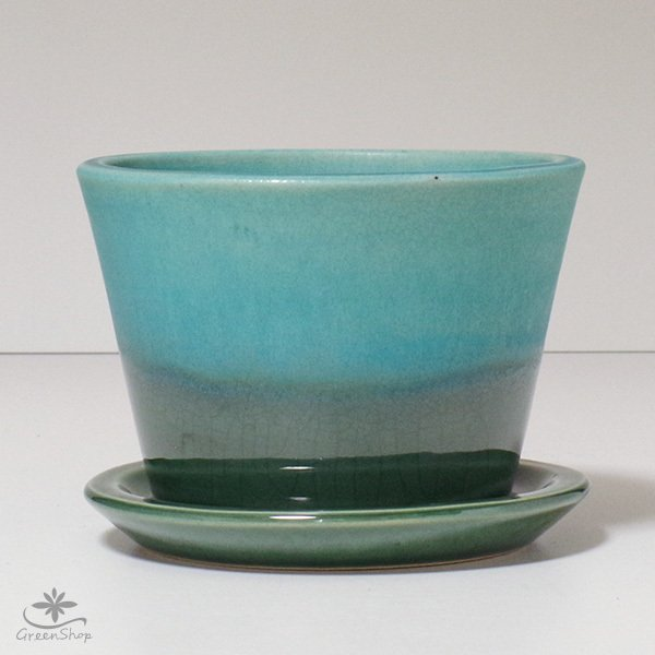 プランター おしゃれ 植木鉢 信楽焼 ルフトミドル ターコイズブルー 約5号|hana-kazaru|02