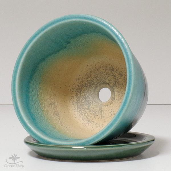 プランター おしゃれ 植木鉢 信楽焼 ルフトミドル ターコイズブルー 約5号|hana-kazaru|05
