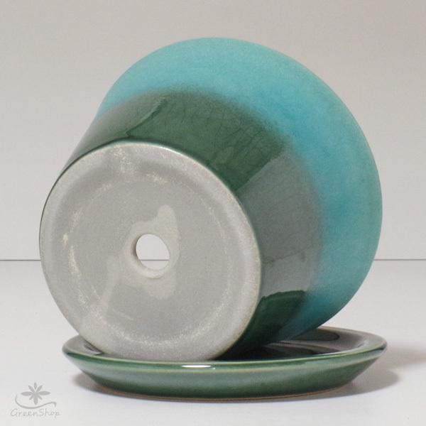 プランター おしゃれ 植木鉢 信楽焼 ルフトミドル ターコイズブルー 約5号|hana-kazaru|06
