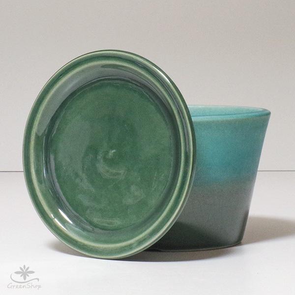 プランター おしゃれ 植木鉢 信楽焼 ルフトミドル ターコイズブルー 約5号|hana-kazaru|07