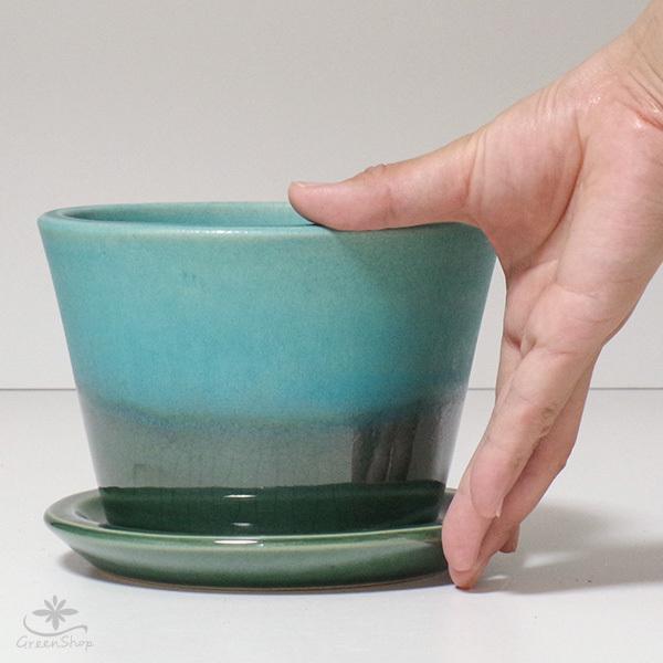 プランター おしゃれ 植木鉢 信楽焼 ルフトミドル ターコイズブルー 約5号|hana-kazaru|08