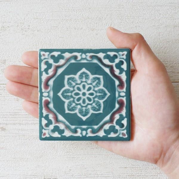 タイル おしゃれ 雑貨 デザインタイル アジアン 約8.4cm 1枚|hana-kazaru|14