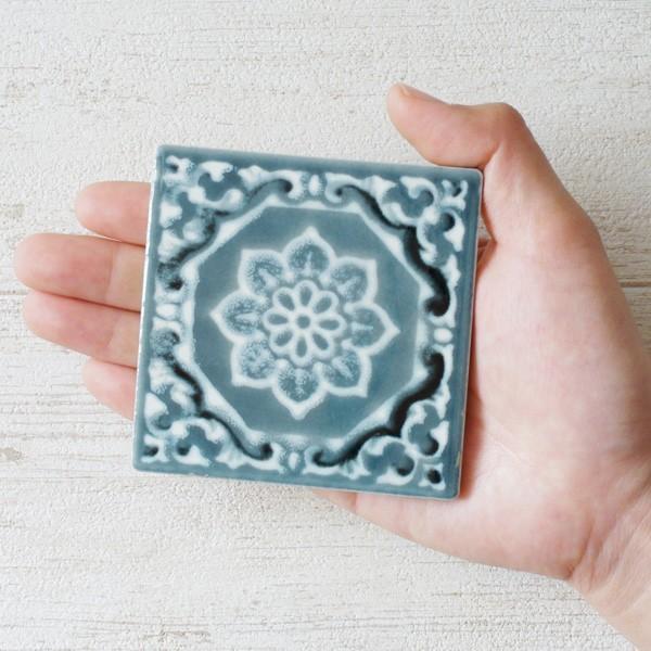 タイル おしゃれ 雑貨 デザインタイル アジアン 約8.4cm 1枚|hana-kazaru|10