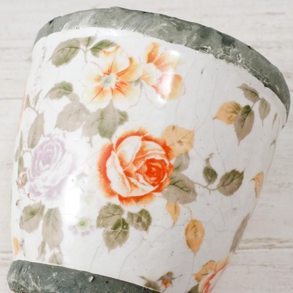 プランター おしゃれ 植木鉢 陶器 ローズフラワープランター 約4号|hana-kazaru|02