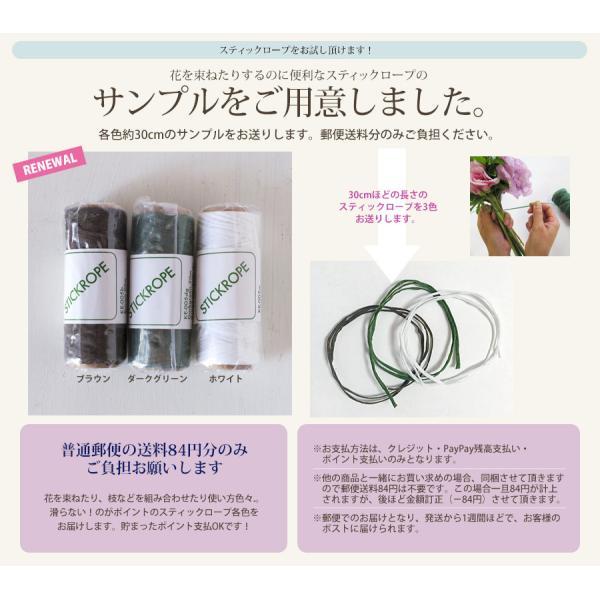 お試しサンプル 花束まとめ用紐 滑らない蜜蝋加工紐 スティックロープ3色|hana-kazaru