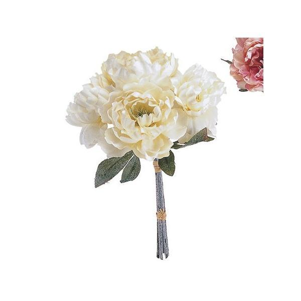 即日 造花 MAGIQ 東京堂  ダニエルピオニーブーケ ホワイト FM007619-001 造花 花材「さ行」 シャクヤク ボタン ピオニー