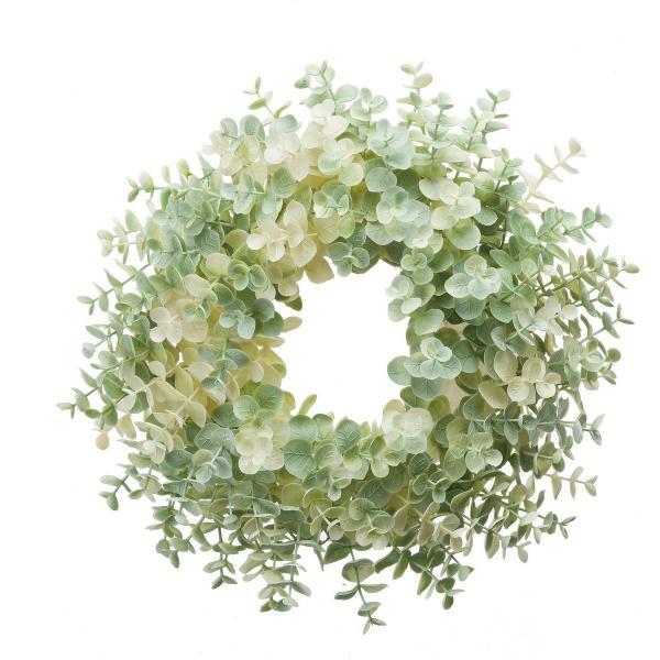 即日 造花 YDM 30cmユーカリリース ホワイトグリーン GLA-1418-W G リース土台 造花