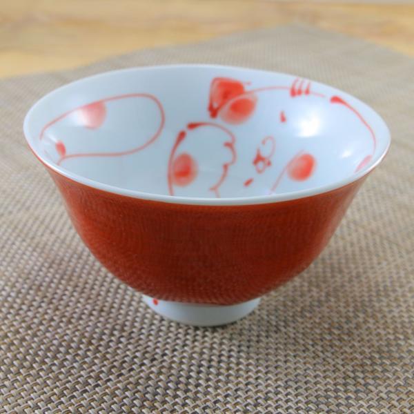 花笑み 有田焼 茶碗 内ネコ(赤)|飯碗 かわいい オリジナル 和食器 猫|hanaemishop|02