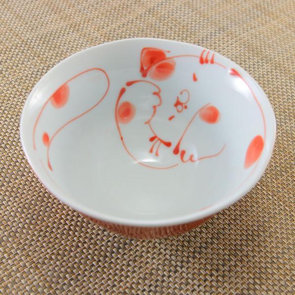 花笑み 有田焼 茶碗 内ネコ(赤)|飯碗 かわいい オリジナル 和食器 猫|hanaemishop|03