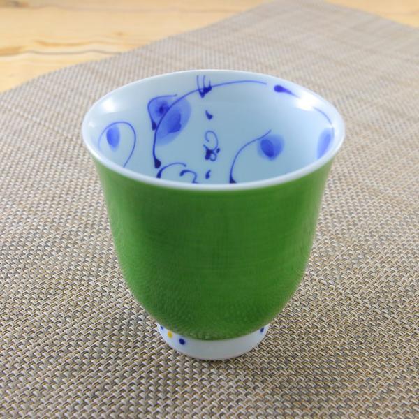 花笑み 有田焼 湯呑 内ネコ(緑)|陶器 和食器 かわいい オリジナル 猫|hanaemishop|02
