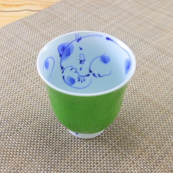 花笑み 有田焼 湯呑 内ネコ(緑)|陶器 和食器 かわいい オリジナル 猫|hanaemishop|03