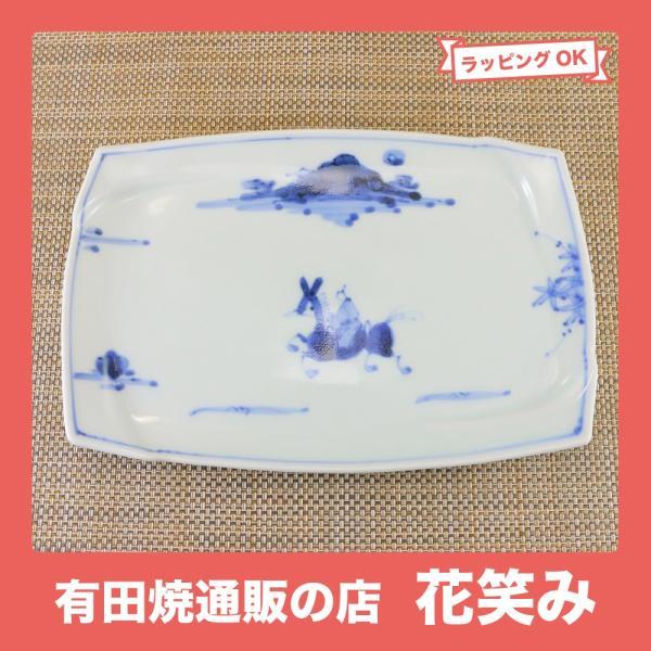 有田焼 渕取 角皿 オリジナル商品 陶器 和食器 焼き皿 焼皿 夢人|hanaemishop