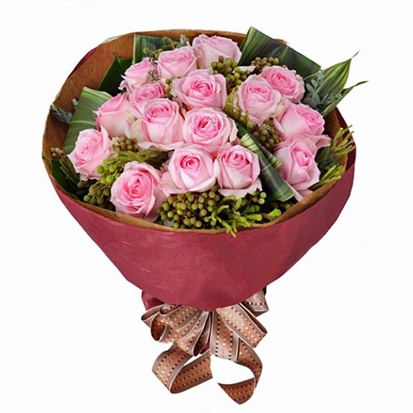 花束-116019 (ピンク系のバラを中心としたブーケ風の花束)花キューピット商品