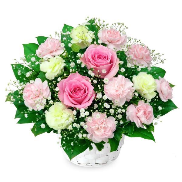 アレンジメント - 512120(ピンク系・グリーン系のお花とかすみ草のアレンジメント)通年 花キューピット商品