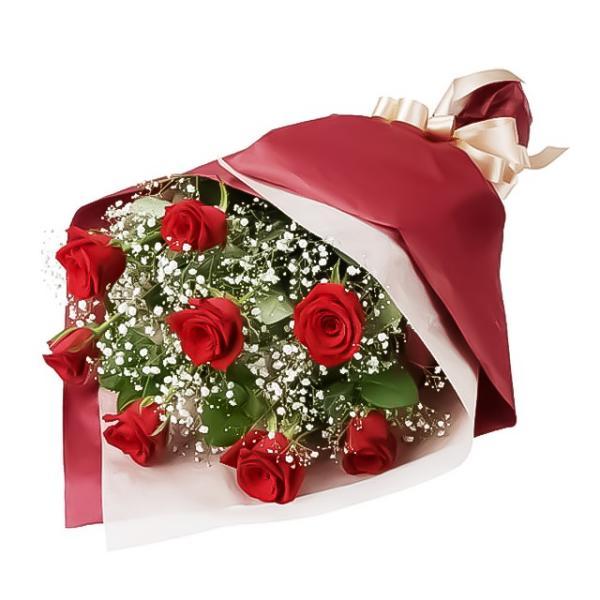 花束-511577(赤バラとかすみ草の花束)花キューピット商品
