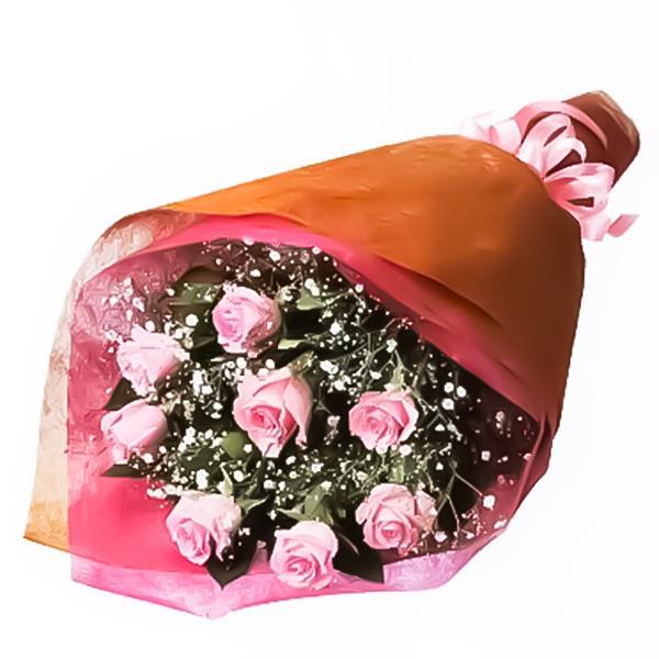 花束-511578(ピンク系のバラとかすみ草の花束)花キューピット商品