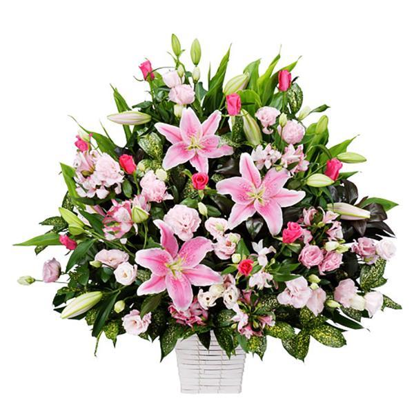 アレンジメント-511582 (ピンク系の濃淡でまとめたアレンジメント)花キューピット商品