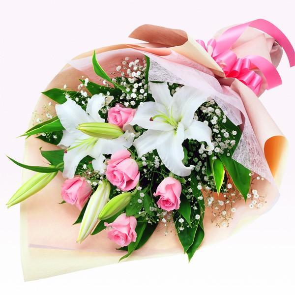 花束 - 512064(ユリやバラ・かすみ草の華やか花束)  花キューピット商品