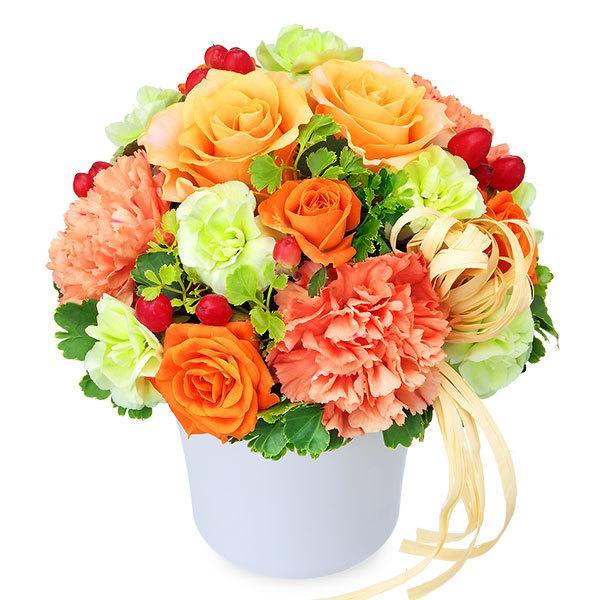 10月のおすすめ -512122(オレンジバラのナチュラルアレンジメント)花キューピット商品
