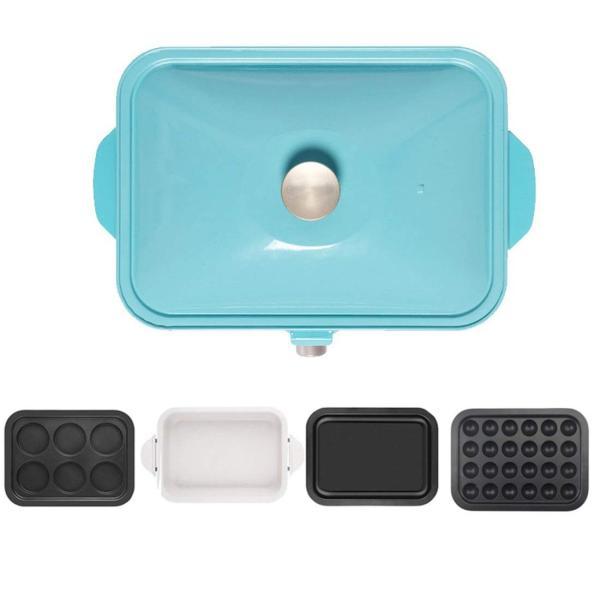 エレクトリックBBQプレートホーム禁煙のバーベキューポット卵小ピザエビケーキ鉄板焼き4ベーキングパン (Color : Blue) hanahana-store4848