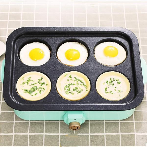 エレクトリックBBQプレートホーム禁煙のバーベキューポット卵小ピザエビケーキ鉄板焼き4ベーキングパン (Color : Blue) hanahana-store4848 02