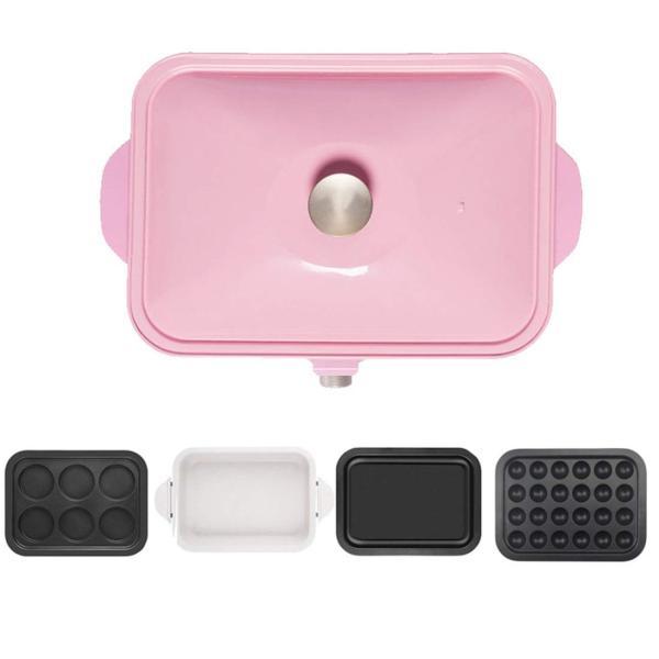 エレクトリックBBQプレートホーム禁煙のバーベキューポット卵小ピザエビケーキ鉄板焼き4ベーキングパン (Color : Pink)|hanahana-store4848