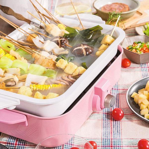 エレクトリックBBQプレートホーム禁煙のバーベキューポット卵小ピザエビケーキ鉄板焼き4ベーキングパン (Color : Pink)|hanahana-store4848|03
