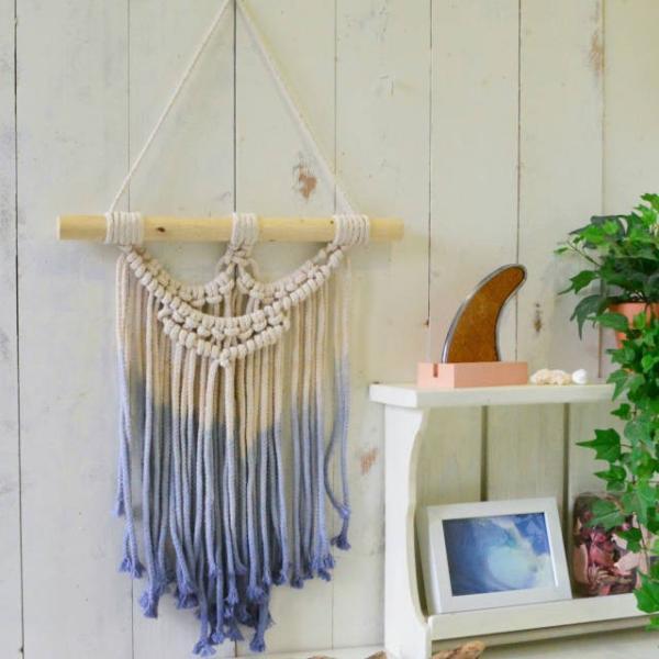 ハワイアン雑貨 マクラメ編み タペストリー ブルー ショート 高さ約79cm×幅約41cm 壁掛け オーナメント|hanahawaii