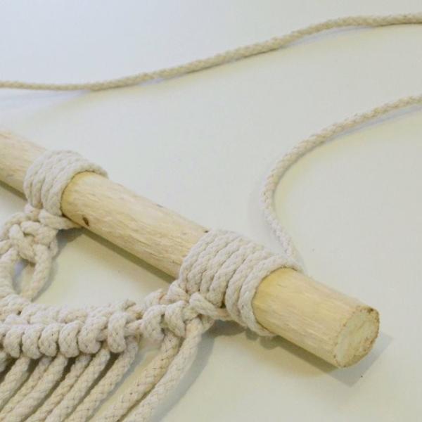 ハワイアン雑貨 マクラメ編み タペストリー ブルー ショート 高さ約79cm×幅約41cm 壁掛け オーナメント|hanahawaii|04
