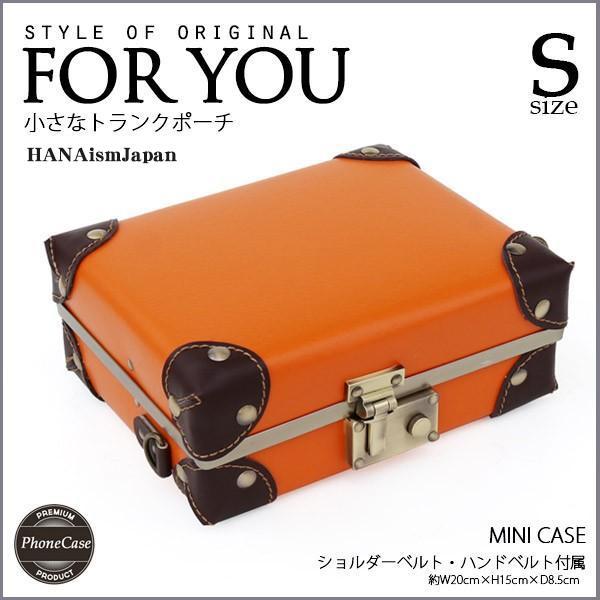 トランクポーチ かわいい ics 09オレンジスマホ アイフォンケース 旅行先 便利 ショルダーバッグ ポーチ カード 合成皮革 PVC コンビカラー パスポート