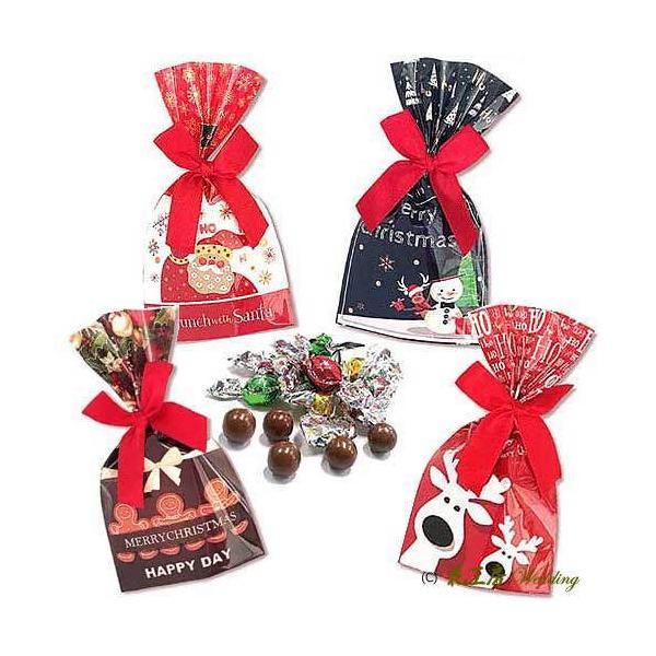 クリスマス お菓子 プチギフト 業務用「きらきらクリスマス チョコ」ウエルカムギフト 個包装 大量  結婚式 子どもHZW-XKRK|hanakobo-wedding