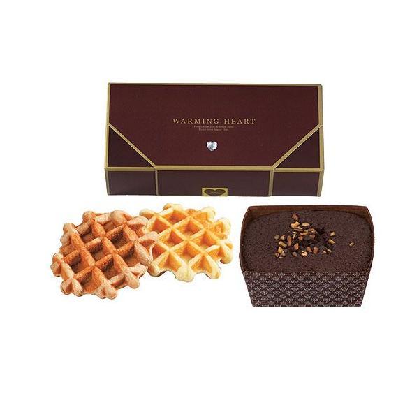 お取り寄せスイーツ手土産お礼お返し「ウォーミングハートチョコケーキ&ワッフルセット」結婚式の引菓子退職のお礼にOGA497-13