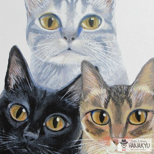 送料無料 木製ラウンドアート 3色トリオ M 違う種類の3匹の猫のつぶらな瞳のかわいい壁掛け 糸井忠晴|hanakyu|03