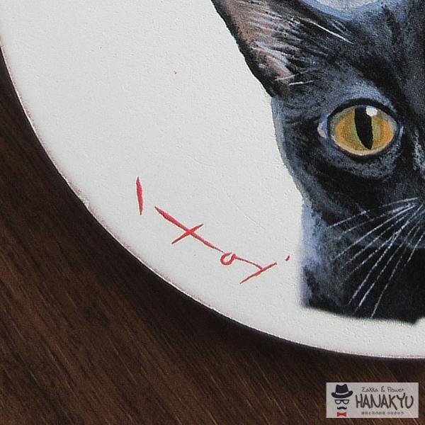 送料無料 木製ラウンドアート 3色トリオ M 違う種類の3匹の猫のつぶらな瞳のかわいい壁掛け 糸井忠晴|hanakyu|04