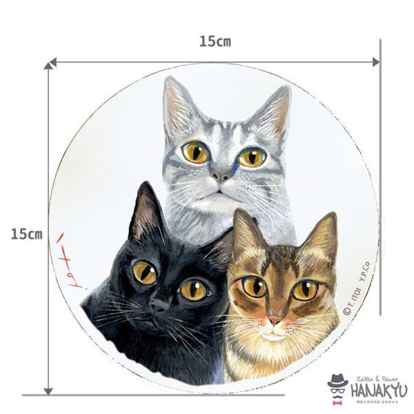 送料無料 木製ラウンドアート 3色トリオ M 違う種類の3匹の猫のつぶらな瞳のかわいい壁掛け 糸井忠晴|hanakyu|05