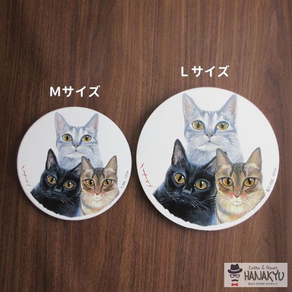 送料無料 木製ラウンドアート 3色トリオ M 違う種類の3匹の猫のつぶらな瞳のかわいい壁掛け 糸井忠晴|hanakyu|06