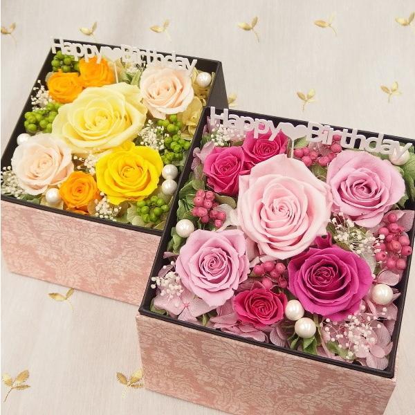 プリザーブドフラワー 誕生日 ボックス 枯れない花 フラワーボックス フラワーBOX 結婚祝い 結婚記念日 サプライス ピンク 赤 黄色 誕生日ボックス|hanaland87|02