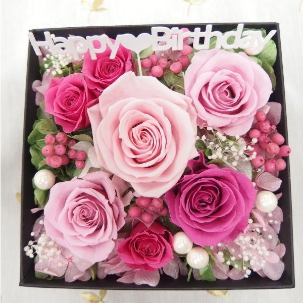 プリザーブドフラワー 誕生日 ボックス 枯れない花 フラワーボックス フラワーBOX 結婚祝い 結婚記念日 サプライス ピンク 赤 黄色 誕生日ボックス|hanaland87|03