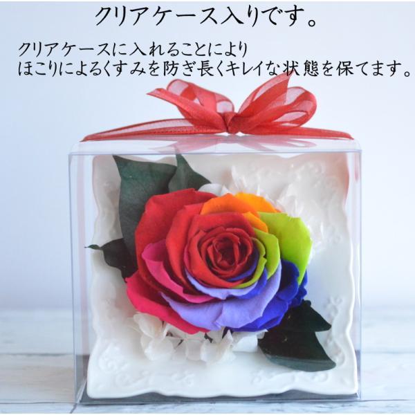 プリザーブドフラワー 誕生日 母の日 プロポーズ フレーム レインボーローズ クリアケース入り 額 置き型 結婚祝い レインボーローズの陶器フレーム|hanaland87|04