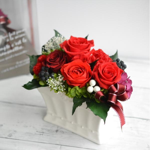 プリザーブドフラワー 誕生日 還暦 60才 送別 赤バラ 赤系 枯れない花 花ギフト プレゼント 新築祝い クリアケース入り カーニバルルージュ|hanaland87|02